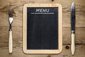 Blackboard menu, fork and knife