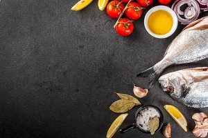 Raw dorado fish