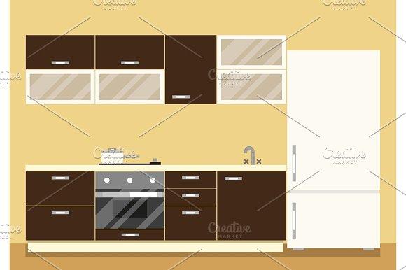 Modern kitchen interior as furniture set and fridge. Flat style vector illustration.