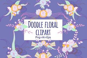 Doodle Floral Clipart Ai Eps Png