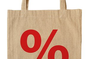 Shopping bag with symbol percent