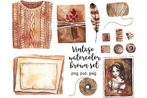 Vintage watercolor brown set