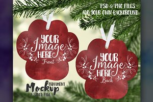 Two sided paw print ornament mockup