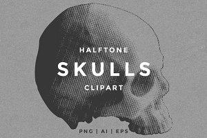 Halftone Skulls Clipart