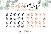 Rose Gold Vintage Typewriter Icons