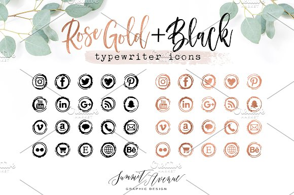 Rose Gold Vintage Typewriter Icons