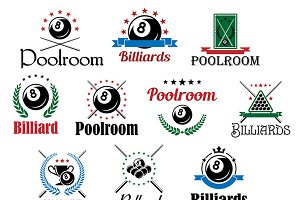 Billiard game emblems and symbols