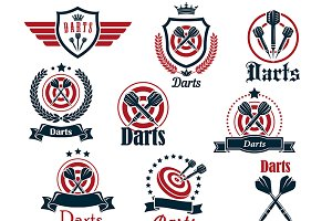 Darts sporting icons and emblems