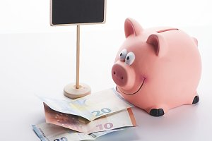 Various banknotes next to a piggy bank and a billboard on white background. Isolated.