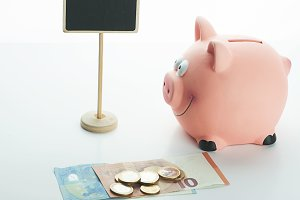 Piggy bank with coins, bills and a billboard on white background.