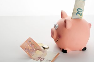 A banknote and coins next to a piggy bank on white background. Vertical shoot.  Isolated.