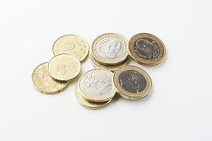 Euro coins on white background. Isolated.