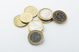 Various euro coins on white background. Isolated.