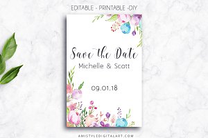 Printable Save The Date Card, Floral