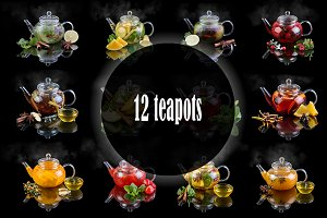 Set 12 teapots on a black background