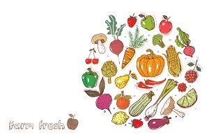 Fruits and vegetables doodles