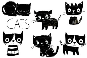 Cute black and white cats clip art