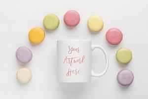 Pastel Macaroons Mug Mockup