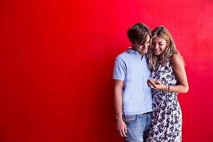 young couple suing phone