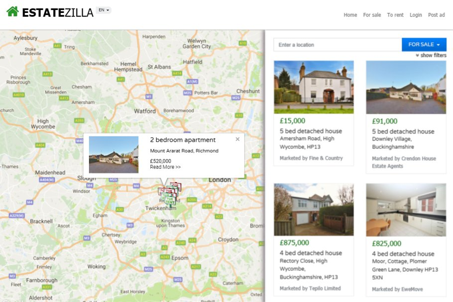 EstateZilla - bootstrap map theme ~ Bootstrap Themes ~ Creative Market