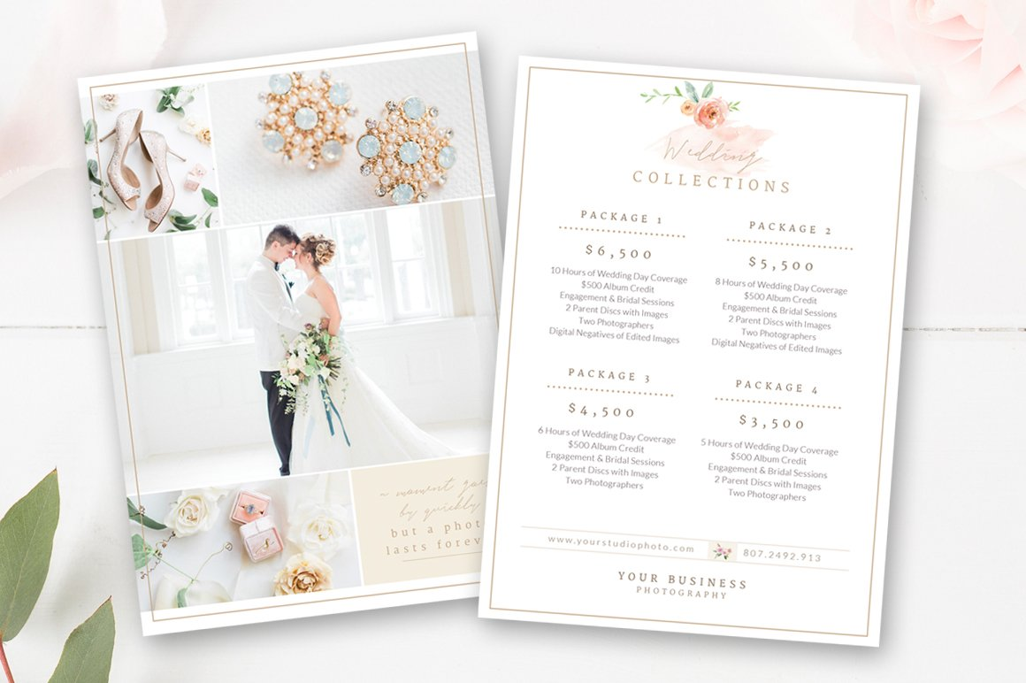 Wedding Photographer Pricing Guide Flyer Templates Creative Market