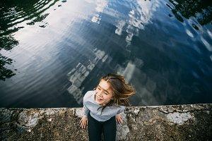 Girl on lake beautiful clean air
