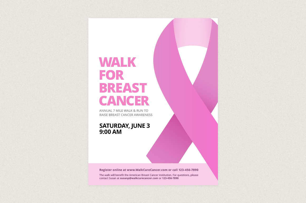 Breast cancer ribbon flyer template flyer templates for Breast cancer brochure template free