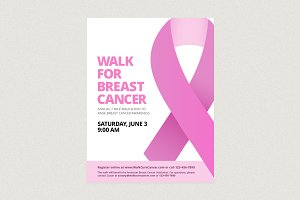 Breast Cancer Ribbon Flyer Template