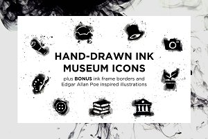 Hand-Drawn Ink Museum Icons