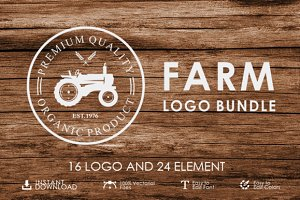Set of vintage farm logo