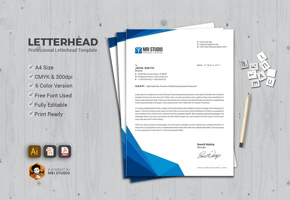 professional letterhead stationery templates creative market
