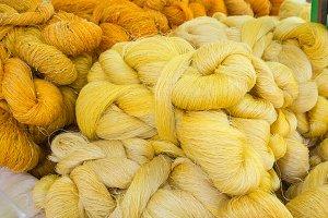 Raw silk thread and messaline.