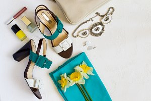flat lay Women's shoes and accessories collage. Beauty and fashi
