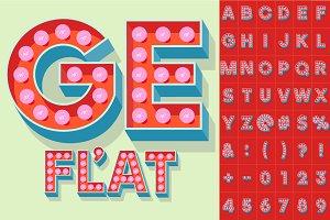 Illustration of flat lamp alphabet 1