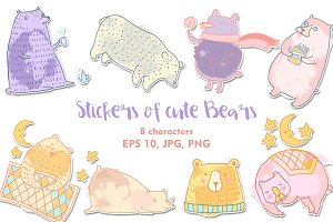 Stickers of cute Bears