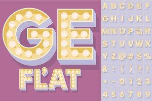 Illustration of flat lamp alphabet 3