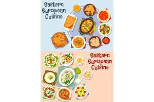 Eastern European cuisine icon set for food design