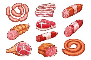 Sausage and meat sketch set for food design