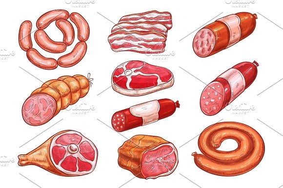 Sausage And Meat Sketch Set For Food Design