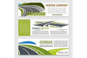 Road and transportation services banner set