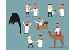 Saudi arabian businessman cartoon character set
