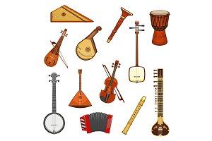 Classic and ethnic music instrument icon set