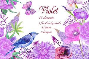 watercolor clipart. violet flowers
