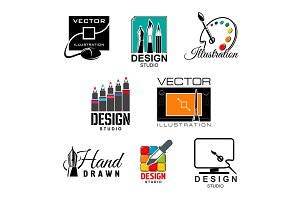 Graphic and web design studio symbol set