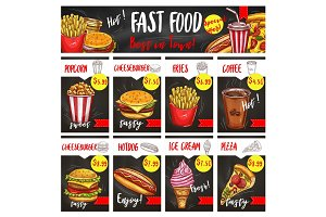 Fast food restaurant menu board template design