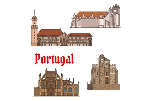 Portuguese travel landmarks thin line icon set
