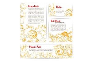 Italian pasta, macaroni product poster template