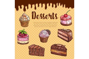 Cake dessert menu poster with chocolate cupcake