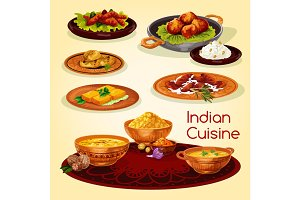 Indian cuisine dinner dishes cartoon menu design