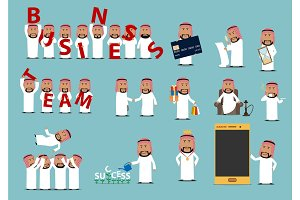 Successful arab businessman cartoon character set